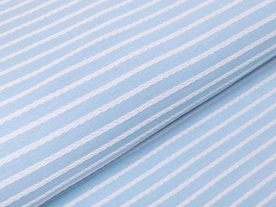 Jersey Jacquard Swafing Birte - Streifen im Zopfmusterdesign - helles blau