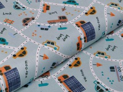 Webware Baumwolle Popeline by Poppy Traffic Cars - Autos auf Straßen - mint