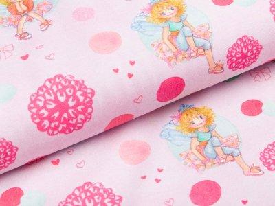Jersey - Prinzessin Lillifee mit Schleifen, Herzen und Punkten - rosa