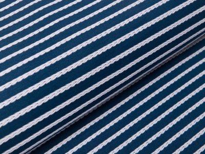 Jersey Jacquard Swafing Birte - Streifen im Zopfmusterdesign - marine