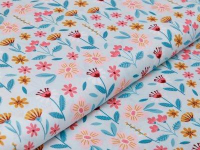 Webware Baumwolle Popeline by Poppy Flowers - Blumenfeld - mint