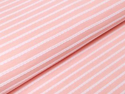 Jersey Jacquard Swafing Birte - Streifen im Zopfmusterdesign - apricot