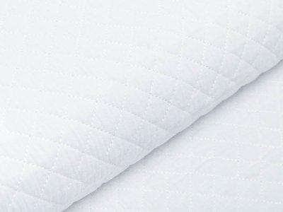 Musselin Double Gauze Rautenstepper - kleine Rauten - uni weiß