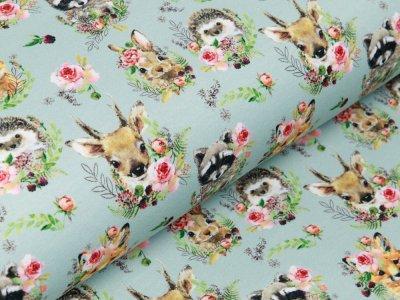 Sweat French Terry Digitaldruck Stenzo - süße Waldtiere mit Blumenschmuck - mint