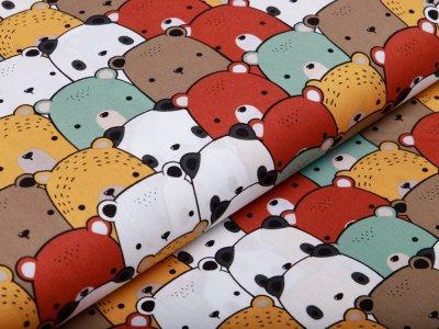 Webware Silikon Popeline Baumwolle - kleine Bären - mint