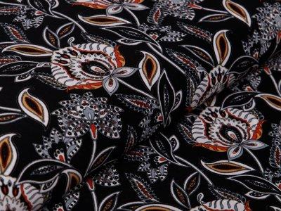Webware Baumwolle Pearl Peach - Blumen - schwarz