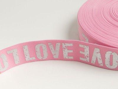 Gummiband mit Foliendruck ca. 40mm - Love - rosa