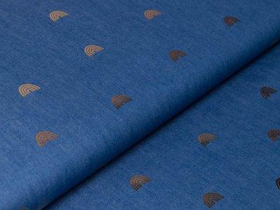 Leichter Jeansstoff by Poppy mit Foliendruck - Regenbögen - jeansblau