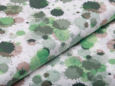 Webware Silikon Popeline Baumwolle - Farbkleckse - weiß/grün