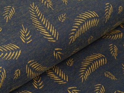 Jersey Jacquard Swafing Winter Stories Twigs by lycklig design - Herbstblätter - grau/ocker