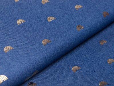Leichter Jeansstoff by Poppy mit Foliendruck - Regenbögen - dunkles jeansblau