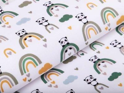 Webware Silikon Popeline Baumwolle - Pandas auf Regenbögen - weiß/grün