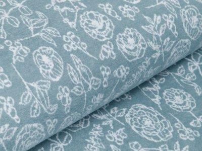 Jersey Jacquard Swafing Misty Morning Ava by Bienvenido Colorido - Rosengarten - helles blau