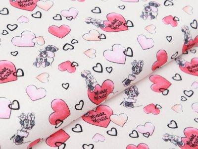 Webware Baumwolle Disney Mickey Mouse - Minni und Herzen - peach