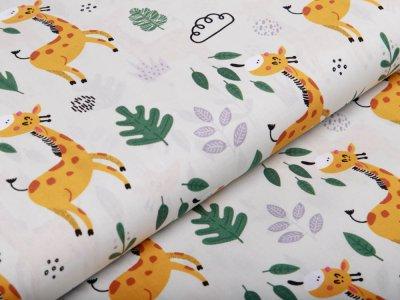 Webware Silikon Popeline Baumwolle - fressende Giraffen - mint