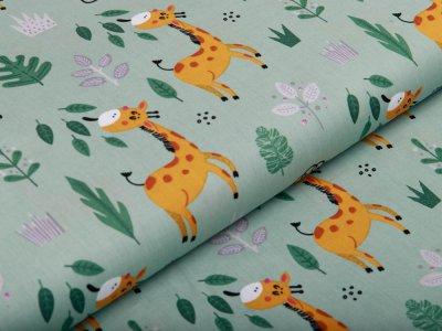 Webware Silikon Popeline Baumwolle - fressende Giraffen - altgrün