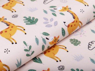 Webware Silikon Popeline Baumwolle - fressende Giraffen - beige