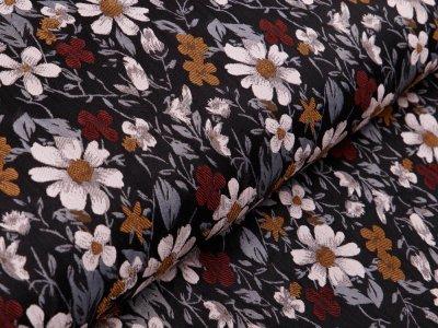 Jacquard - Blumen - anthrazit