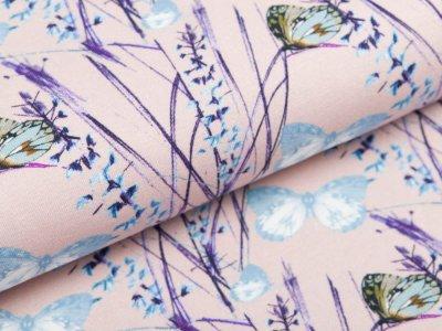 Jersey Digitaldruck Stenzo - Schmetterlinge in Blütenzweige - altrosa