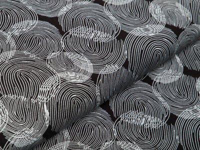 Webware Viskose - quallige Kreise - schwarz