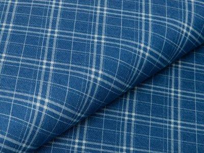 Leichter Jeansstoff - verschobene Karos - denim/blau