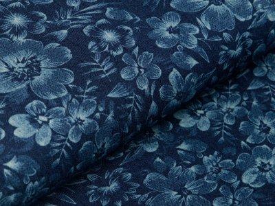 Leichter Jeansstoff - Blumenfeld - denim/blau