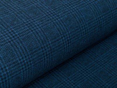 Bouclé Mantelstoff - kleines Karo-Muster - indigoblau