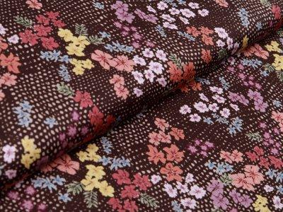Webware Viskose - Blumen auf Punkte - braun