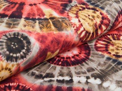 Jersey Batik Hippy Cirkle rost - gelb - olive