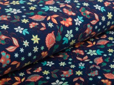 Jersey -  niedliche Blumen - navyblau