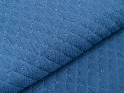 Musselin Double Gauze Rautenstepper - kleine Rauten - uni jeansblau