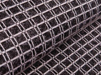 Jersey Jacquard - Karo/Vichy ca. 2 x 2 cm - schwarz/weiß