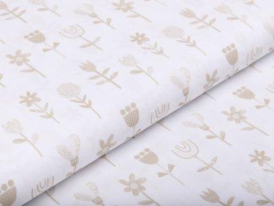 Webware Baumwolle Popeline Stenzo - Gartenblumen - weiß/beige