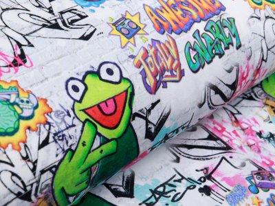 Angerauter Sweat - Kermit auf Graffiti - helles grau