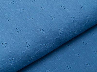 Musselin Baumwolle Double Gauze mit Lochstickerei Broderie - aufgestickte Blumenranken - jeansblau