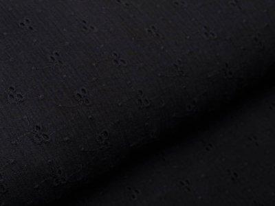 Musselin Baumwolle Double Gauze mit Lochstickerei Broderie - aufgestickte Blumenranken - schwarz