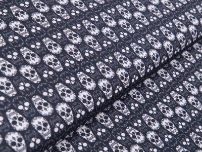 Webware Baumwolle - gemusterte Totenschädel - anthrazit
