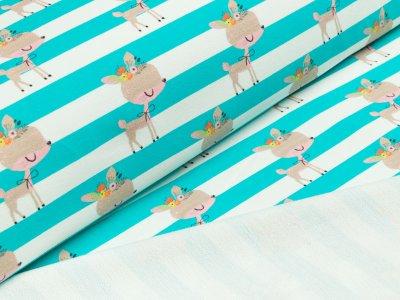 Baumwoll-Sweat Traumbeere Digitaldruck - Rehe auf breiten Streifen - weiß/türkis