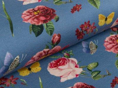 Jersey - wilde Rosen und Schmetterlinge - jeansblau