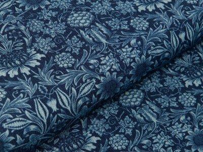 Leichter Jeansstoff - Weinreben und Blumen - denim/blau