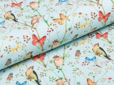 Jersey Digitaldruck Stenzo - Vögel und Schmetterlinge - mint