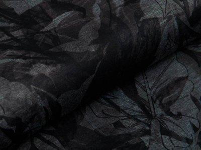 Jersey Viskose Punta Di Roma - Blumen und Blätter - schwarz