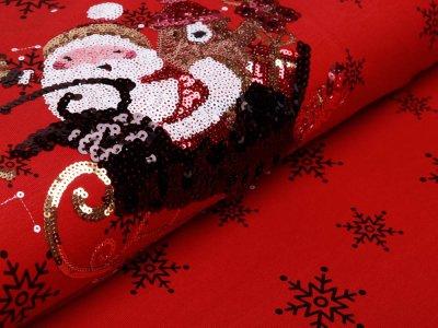 Jersey PANEL ca. 70 x 150 cm - Applikation Pailletten Weihnachtsmann im Schlitten - rot