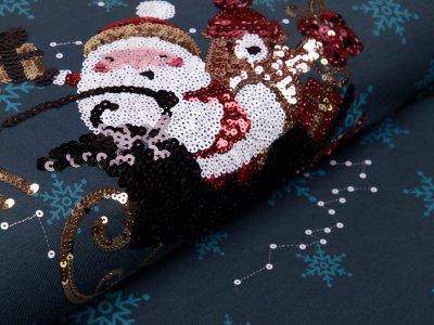 Jersey PANEL ca. 70 x 150 cm - Applikation Pailletten Weihnachtsmann im Schlitten - petrol