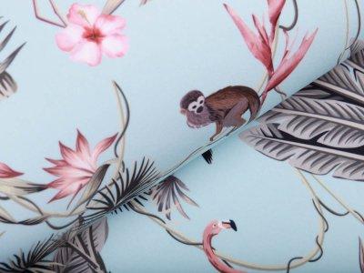 Softshell Jackenstoff - Affen und Pelikane - altmint