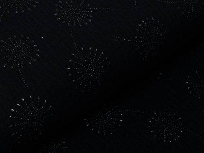 Musselin Baumwolle Hydrofiel Double Gauze mit Foliendruck - Löwenzahn - schwarz