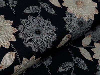 Jersey Viskose - hübsche Blumen - schwarz/beige