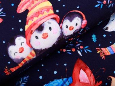 Softshell Jackenstoff - niedliche Wintertiere - nachtblau