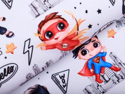 Softshell Jackenstoff - Superhelden Boys- pastellblau