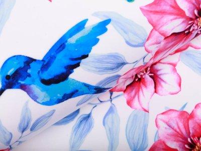 Softshell Jackenstoff - Kolibris und wunderschöne Blüten - weiß